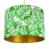 Tropical Monstera Lampshade (Gold) - Red Candy