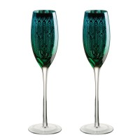 Peacock Champagne Flute (Set of 2) - Red Candy