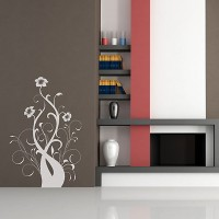 Baroque Flower 4 Wall Sticker - Red Candy