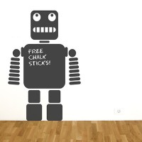 Robot Chalkboard Wall Sticker - Red Candy