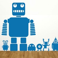 Robots and Aliens Wall Sticker Set - cartoon character wall decor