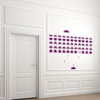 Space Invaders Wall Sticker Set (Medium) - Red Candy