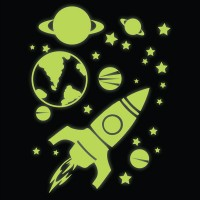 Glow in the Dark Rocket, Planets and Stars Wall Stickers