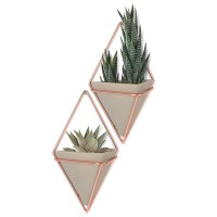 Umbra Trigg Wall Vessel Small - Copper - Set of 2 - wall planters