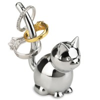 Umbra Zoola Ring Holder - Chrome Cat - animal jewellery stand