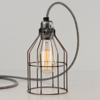 Bird Cage Lamp (Raw Steel) - Red Candy