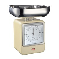 Wesco Retro Scales with Clock - Almond - kitchen scales