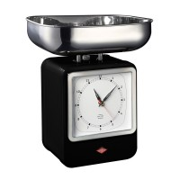 Wesco Retro Scales with Clock - Black - designer kitchen scales