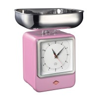 Wesco Retro Scales with Clock - Pink - designer kitchen scales