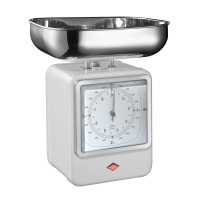 Wesco Retro Scales with Clock - White - designer kitchen scales