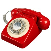 Wild and Wolf 746 Phone Box Red - bright red desk telephone