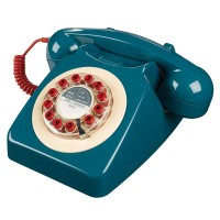 Wild and Wolf 746 Phone in Petrol Blue - retro designer telephone