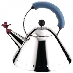Alessi Bird Kettle in Light Blue - designer stove top kettle