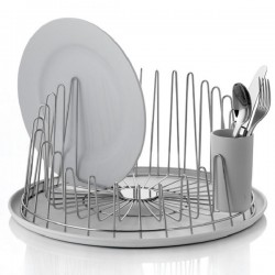 Alessi A Tempo Dish Drainer and Tray - stainless steel plate drainer with resin tray