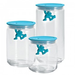 Alessi Gianni Storage Jar - light blue glass container