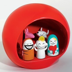 Alessi Presepe Stable Figurines - Red Christmas Nativity Display