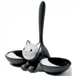 Alessi Tigrito Cat Bowl - black pet dish
