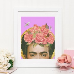 Frida Kahlo Art Print – flower collage art poster