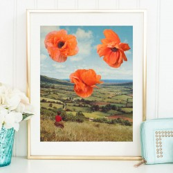 Poppy Art Print – floral collage art poster