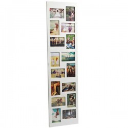Flat Face 16 Multi Photo Frame - long white tower photo display