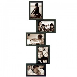 Isernia Tower Multi Frame - Black staggered multiple photo frame