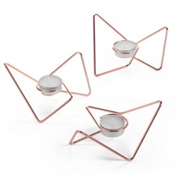 Tri-Angular Loop Tealight Holders - Copper - Black + Blum