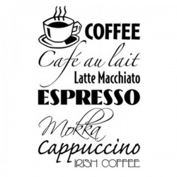 Coffee Wall Sticker - large kitchen wall signs
