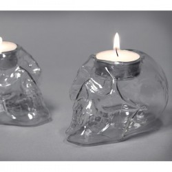 Glass Skull Tealight Holders (Set of 2) - Red Candy