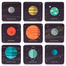 Planetaria Coasters - Set of 9 - planet design drink mats - Jay