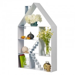 RowHouse Shelf - White - house shaped wall storage cabinet