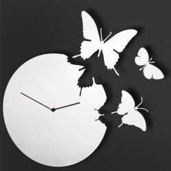 White Butterfly Clock - wall clock with 3 butterflies