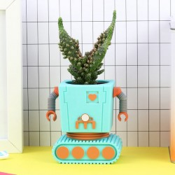 Planter Bot - Blue - robot flower pot - DOIY