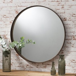 Aged Bronze Circular Mirror (84cm) - Red Candy