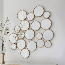 Gold Circles Multi-Mirror (101 x 120cm) - Red Candy