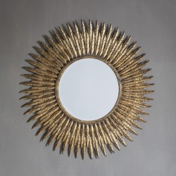 Gold Feather Circular Mirror (61cm) - Red Candy