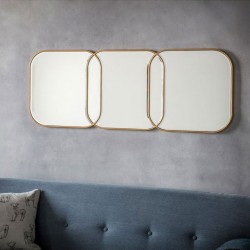 Gold Rectangular Overlapping Mirror (130 x 50cm) - Red Candy
