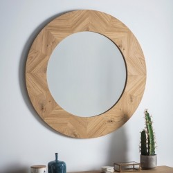 Light Wood Circular Mirror (90cm) - Red Candy