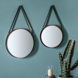 Round Hanging Mirror Duo - Red Candy