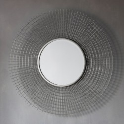 Wire Mesh Circular Mirror (92cm) - Red Candy