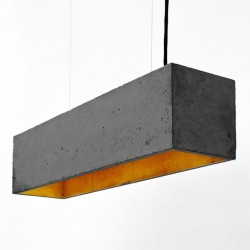 B4 Rectangular Concrete Pendant Light (Charcoal & Gold) - Red Candy