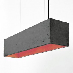 B4 Rectangular Concrete Pendant Light (Charcoal & Copper) - Red Candy