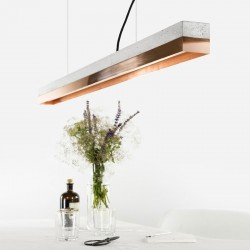 C1 Strip Pendant Light - large copper concrete pendant lamp