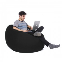 Retro Classic Indoor Outdoor Bean Bag (Black 3 Sizes) - Red Candy