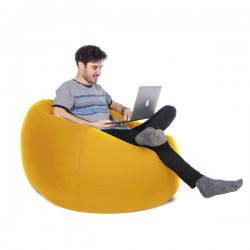 Retro Classic Indoor Outdoor Bean Bag (Yellow 3 Sizes) - Red Candy