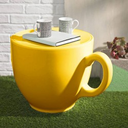 Tea Cup Stool – designer yellow teacup seat