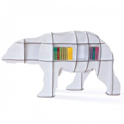 Ibride Bear Bookcase Junior – white designer animal bookshelf