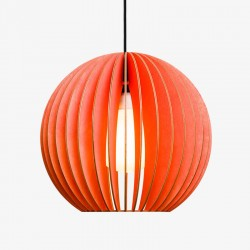 IUMI Aion Pendant Light red – round red wooden hanging lamp