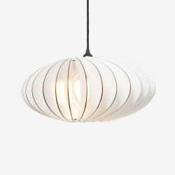 IUMI Nefi Pendant Light – white oval plywood hanging lamp