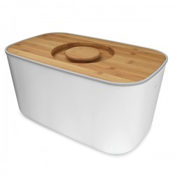 Joseph Joseph Steel Bread Bin with chopping board lid - White