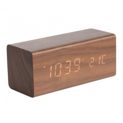 Karlsson Block LED Clock - Dark Wood - designer alarm clock